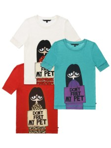 Little Miss Marc Don't Fret My Pet T-shirts in white, teal, and red, $58