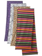 Printed scarves in Wildflower, Doodle, and Stripes, $48