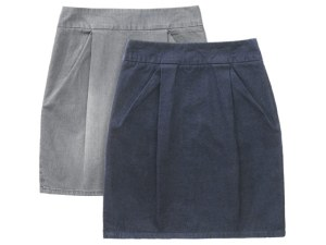 Stretch-denim skirts in gray and blue, $98