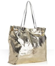 carlos falchi gold snake embossed gathered shopping tote