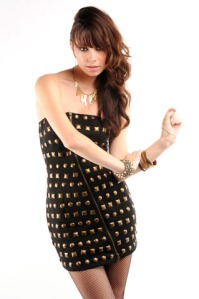 Stud Love Zip Dress from Nasty Gal