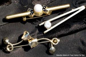 Vintage Terrific Trio Lot Set Bar Brooch & Collar Pins
